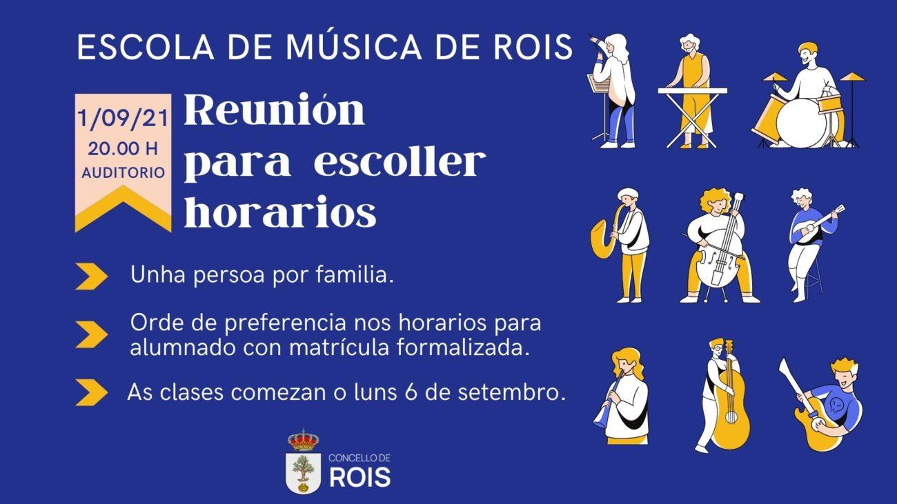 Reunión da Escola Municipal de Música de Rois para fixar horarios curso 2021-2022 o 1 de setembro de 2021