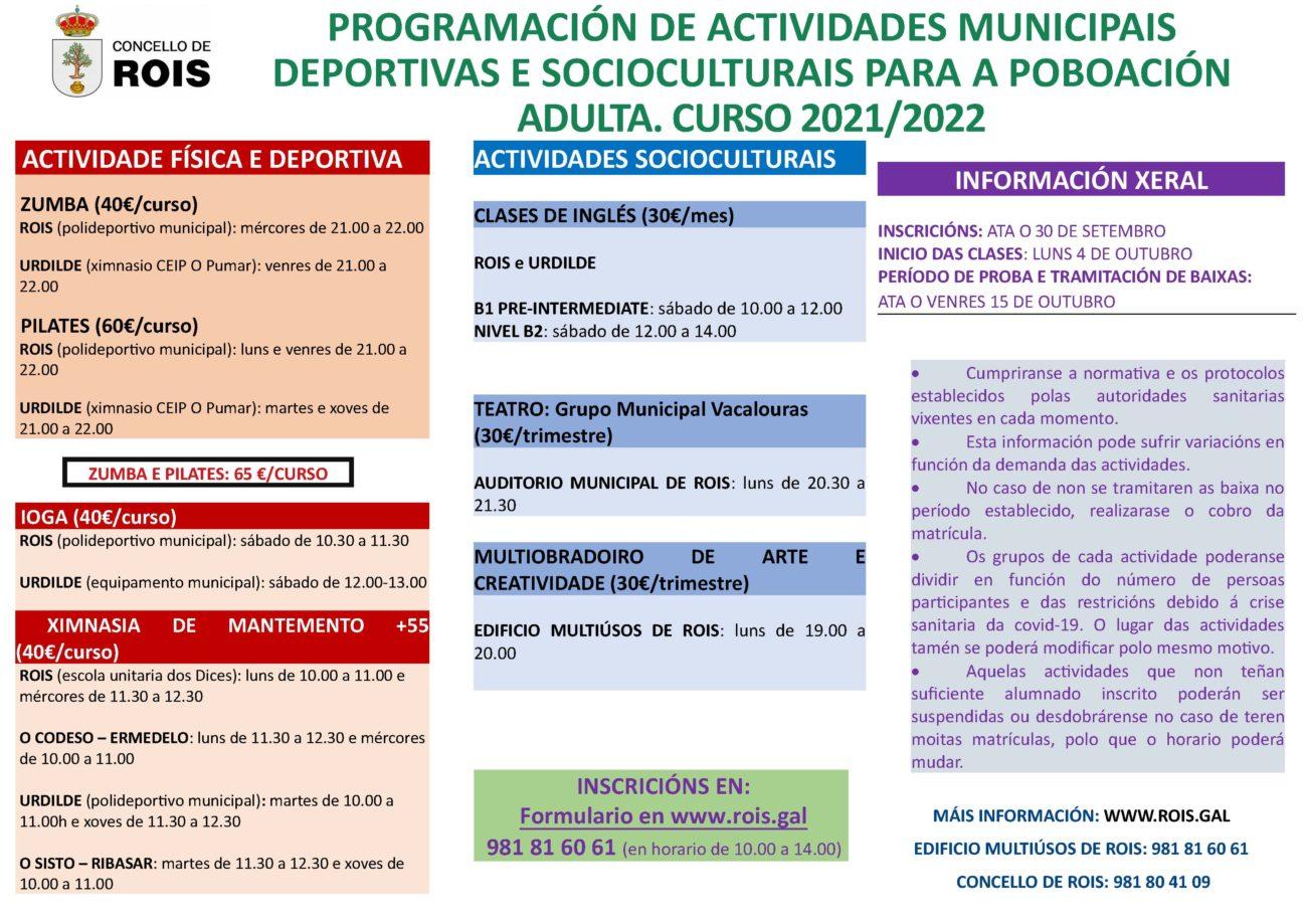 Rois: Horario e Actividades socioculturais e deportivas para persoas adultas 2021-2022