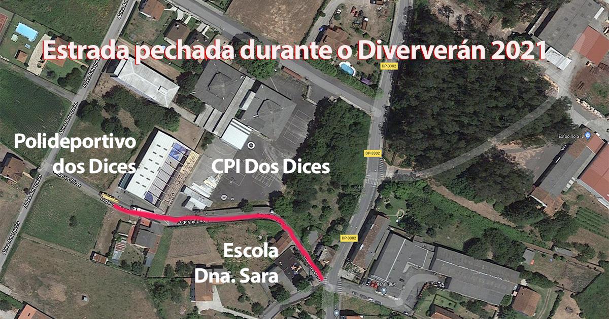 Estrada pechada en Rois polo Diververán 2021
