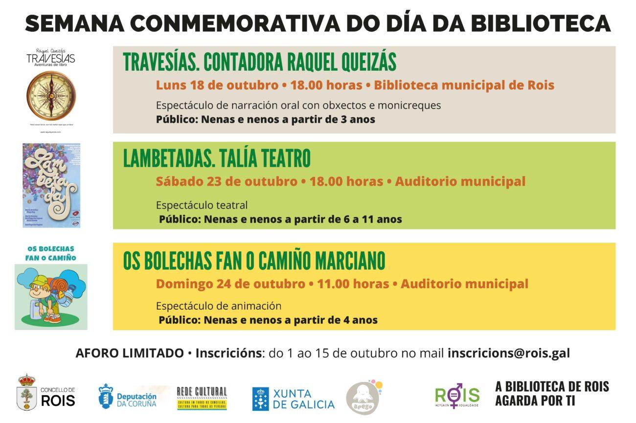 Programa de actividades da Semana da Biblioteca en Rois